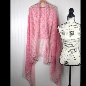 Accessories - Pink White Design Indian Saree/ Blanket Scarf Wrap